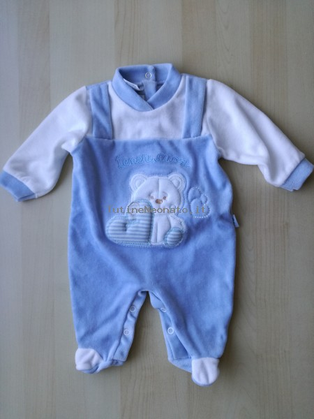 Baby footie in chenille baby bear and hearts. Colour light blue, size 3-6 months Light blue Size 3-6 months