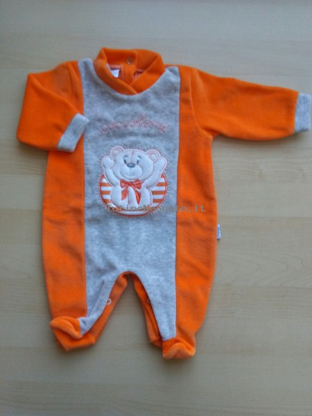 Image baby footie chenille cuddly. Colour orange, size 1-3 months Orange Size 1-3 months