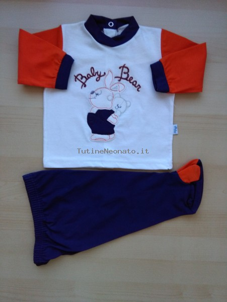 Picture baby footie outfit cotton baby bear. Colour orange, size 6-9 months Orange Size 6-9 months