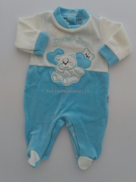 Baby image footie chenille sweet bear size 00. Colour turquoise, size 00 Turquoise Size 00