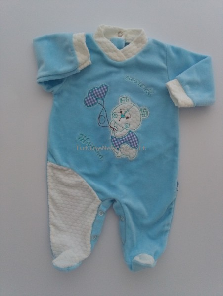Picture baby chenille footie heart of mom. Colour turquoise, size 6-9 months Turquoise Size 6-9 months