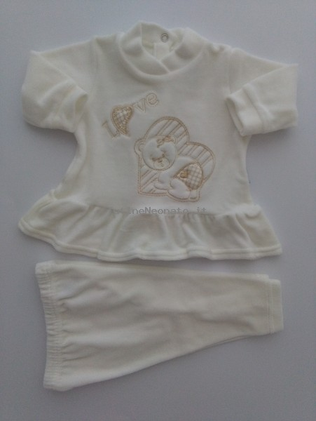 Picture baby footie outfit clinic chenille love. Colour creamy white, size 0-1 month Creamy white Size 0-1 month