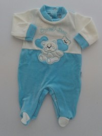 Baby image footie chenille sweet bear size 00. Colour turquoise, size 00