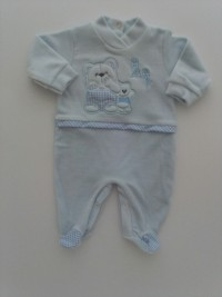 Image baby footie chenille baby. Colour light blue, size 6-9 months