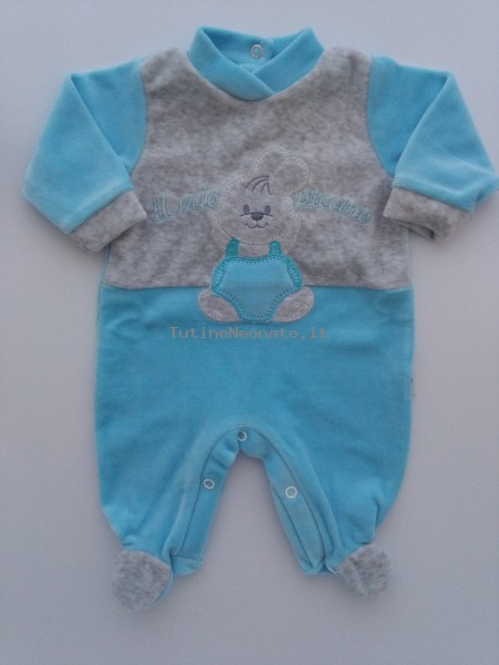 Picture baby footie chenille rabbit my little one. Colour turquoise, size 0-1 month Turquoise Size 0-1 month