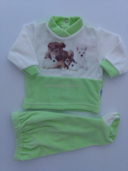 Image baby footie outfit tender puppies. Colour pistacchio green, size 0-1 month Pistacchio green Size 0-1 month