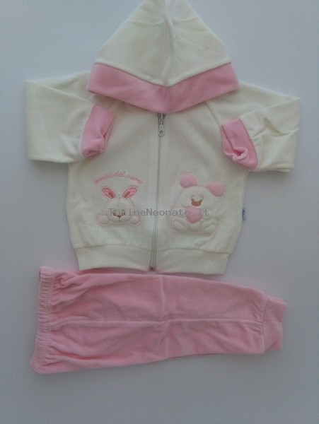 Picture tracksuit hooded bunnies heart friends. Colour pink, size 1-3 months Pink Size 1-3 months