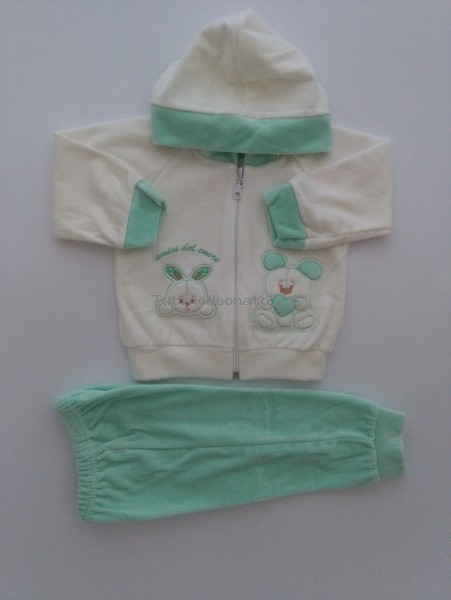 Picture tracksuit hooded bunnies heart friends. Colour green, size 3-6 months Green Size 3-6 months