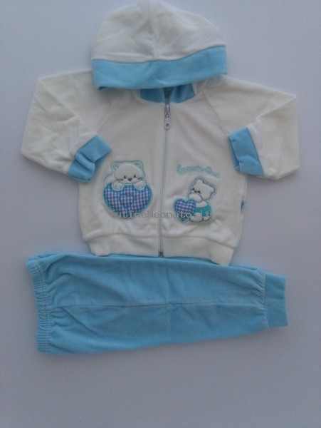 Picture tracksuit kitten hood here we are. Colour turquoise, size 6-9 months Turquoise Size 6-9 months