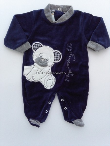 Baby image footie chenille bear smile. Colour blue, size 3-6 months