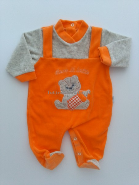 Picture baby chenille footie I drink milk. Colour orange, size 1-3 months Orange Size 1-3 months