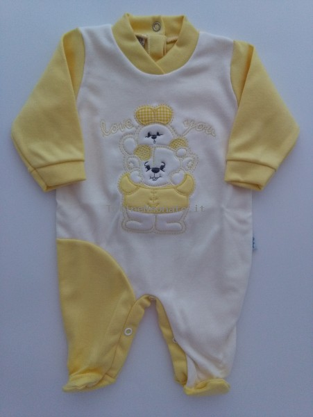 Baby footie interlock baby bear with bunny. Colour yellow, size 3-6 months Yellow Size 3-6 months