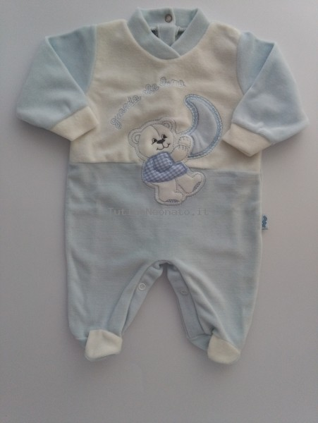 Baby footie chenille picture baby bear looks that moon. Colour light blue, size 1-3 months Light blue Size 1-3 months