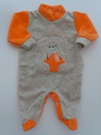 Chenille baby footie baby footie image baby bear small baby. Colour orange, size 3-6 months