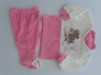 Image baby footie outfit tender puppies. Colour coral pink, size 0-1 month