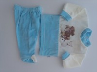 Image baby footie outfit tender puppies. Colour turquoise, size 0-1 month
