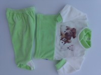 Image baby footie outfit tender puppies. Colour pistacchio green, size 0-1 month