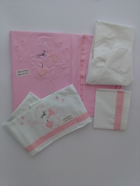 Picture accompanied baby cotton cot. Colour pink, one size Pink One size