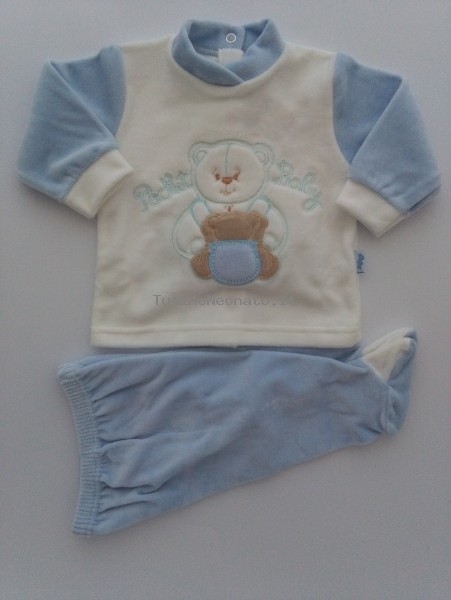 Picture baby footie chenille outfit pocket baby. Colour light blue, size 1-3 months Light blue Size 1-3 months