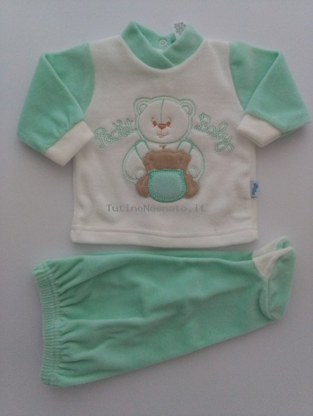 Picture baby footie chenille outfit pocket baby. Colour green, size 1-3 months