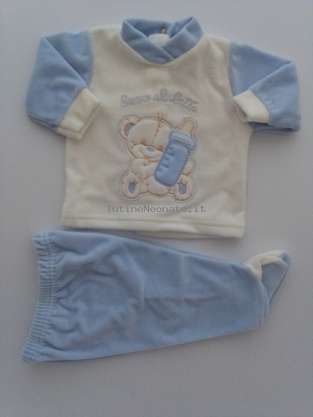 Picture baby footie outfit drink milk with bottle. Colour light blue, size 0-1 month Light blue Size 0-1 month