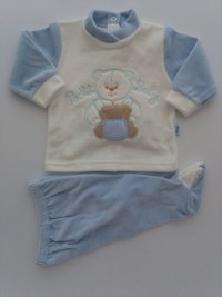 Picture baby footie chenille outfit pocket baby. Colour light blue, size 1-3 months