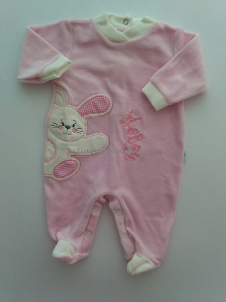 Picture baby footie chenille happy rabbit. Colour pink, size 3-6 months Pink Size 3-6 months