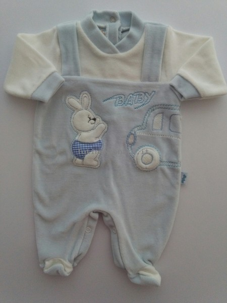 Picture baby footie chenille car baby. Colour light blue, size 1-3 months Light blue Size 1-3 months