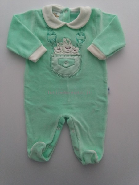 Picture baby footie chenille rabbit with bears. Colour green, size 6-9 months Green Size 6-9 months