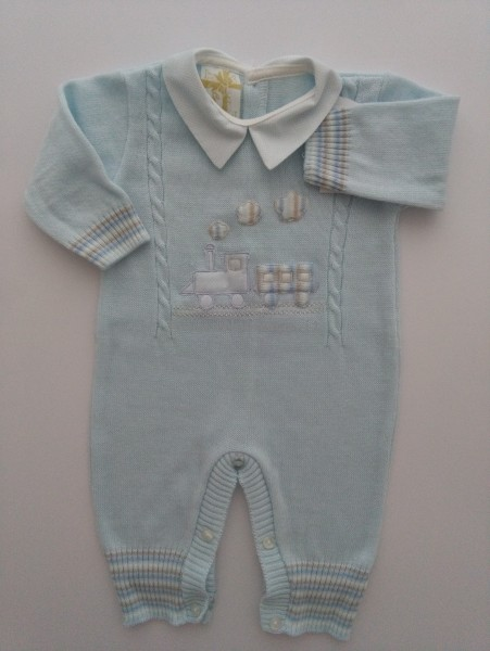 Picture baby footie mixed wool train. Colour light blue, size 1-3 months Light blue Size 1-3 months
