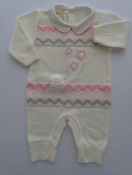 Picture baby footie mixed wool baby bear with stars. Colour creamy white, size 1-3 months Creamy white Size 1-3 months