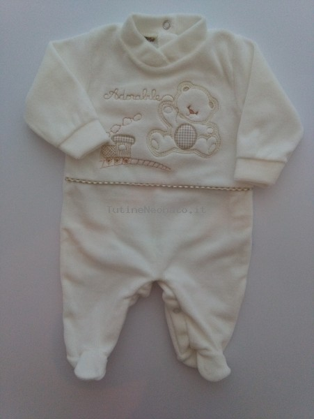 Image baby footie chenille bear and locomotive. Colour creamy white, size 0-1 month Creamy white Size 0-1 month