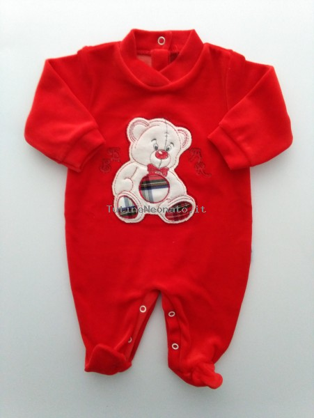 Picture baby footie chenille bear bow tie. Colour red, size 0-1 month Red Size 0-1 month