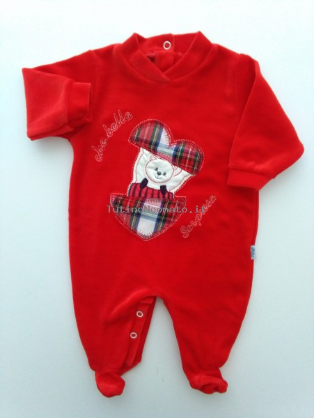 Baby image footie chenille that beautiful surprise. Colour red, size 1-3 months Red Size 1-3 months
