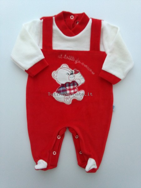 Picture baby footie chenille milk makes grow. Colour red, size 3-6 months Red Size 3-6 months