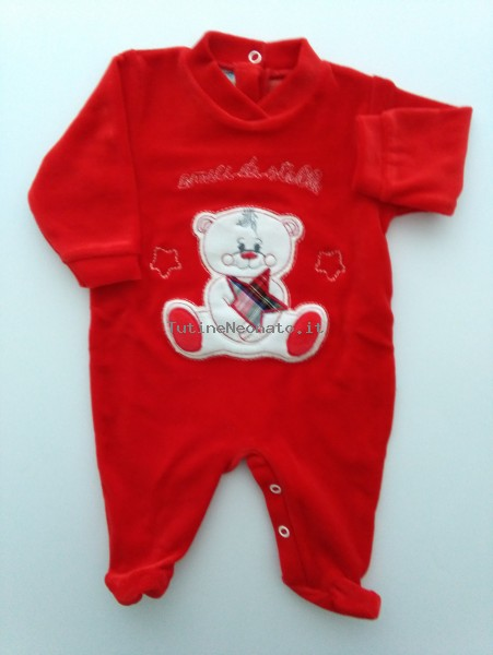 Picture baby footie chenille friends of stars. Colour red, size 3-6 months Red Size 3-6 months