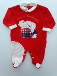Picture baby footie chenille little mine. Colour red, size 1-3 months