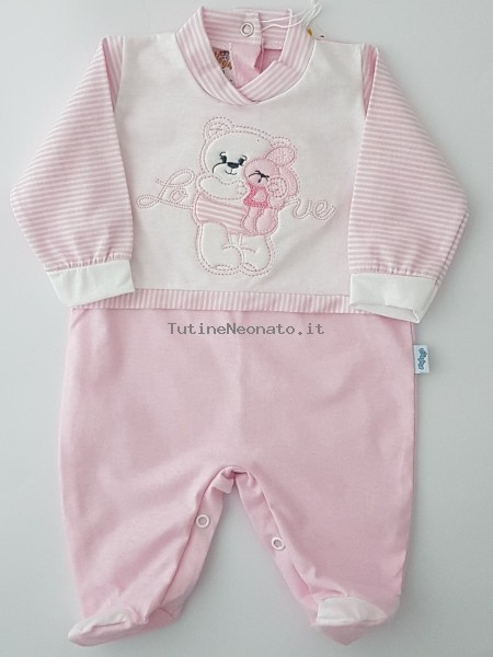 Image cotton baby footie jersey love. Colour pink, size 1-3 months