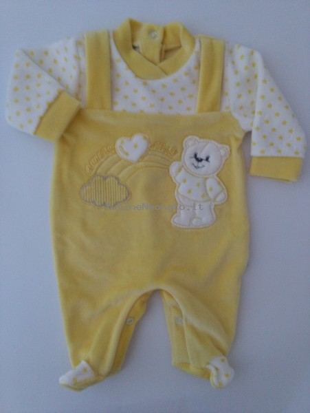 Picture baby footie in chenille baby bear and rainbow. Colour yellow, size 00 Yellow Size 00