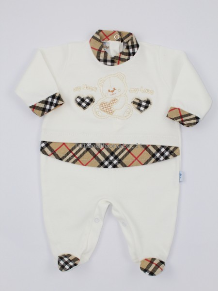 Image cotton baby footie interlock my heart my love. Colour creamy white, size 1-3 months Creamy white Size 1-3 months