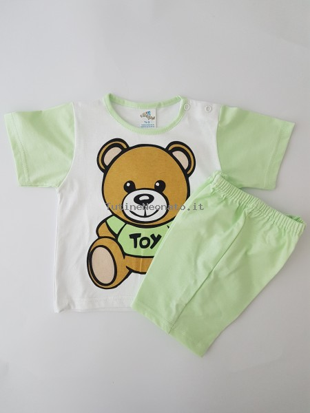 baby footie cotton outfit jersey bear jersey toy. Colour pistacchio green, size 0-1 month Pistacchio green Size 0-1 month