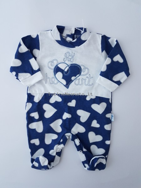 Image cotton baby footie jersey my heart. Colour blue, size 1-3 months Blue Size 1-3 months