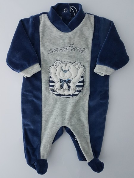 Image baby footie chenille cuddly. Colour blue, size 0-1 month Blue Size 0-1 month