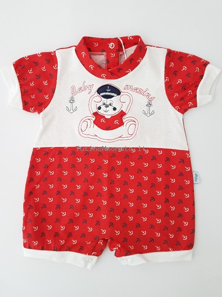 Picture baby footie cotton romper baby marins. Colour red, size 6-9 months Red Size 6-9 months