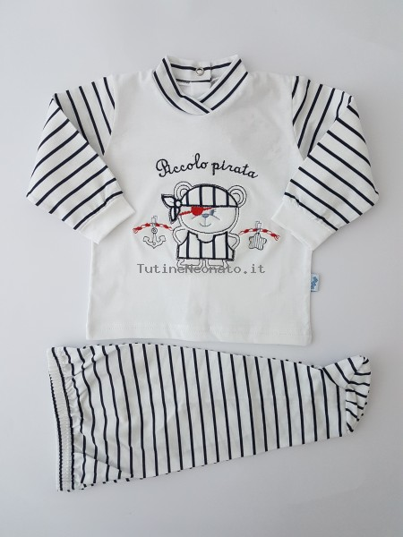 Picture baby footie outfit cotton small pirate. Colour blue, size 3-6 months Blue Size 3-6 months