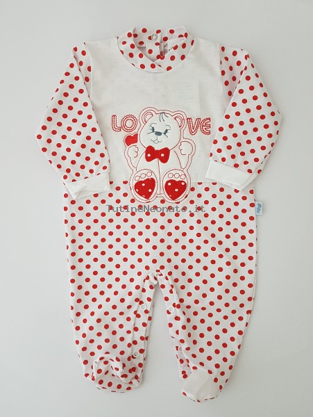 Image cotton baby footie jersey love papillon. Colour red, size 3-6 months Red Size 3-6 months