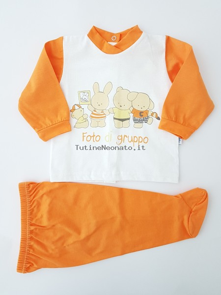 Picture baby footie outfit cotton jersey group photo. Colour orange, size 3-6 months Orange Size 3-6 months