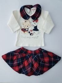 Image outfit cotton woof woof woof. Colour red, size 3-6 months