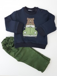 Image outfit cotton bear and car. Colour green, size 6-9 months