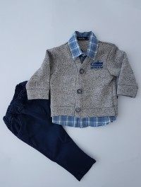 Image outfit cotton cardigan and pants. Colour blue, size 3-6 months